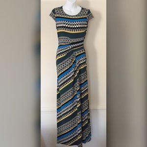 Graphic Blue Yellow Maxi Dress Stretch Jersey Sz S